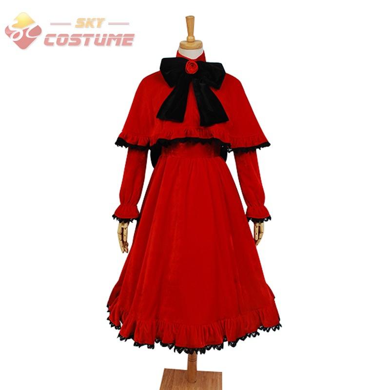 Rozen Maiden Pure Ruby Shinku Uniform Red Full Sleeves Dress Cape Anime Halloween Cosplay Costumes For Women Custom Made