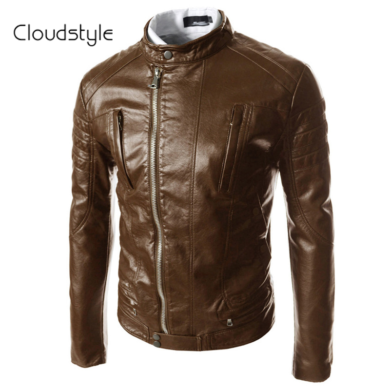 2016 New Design Men's PU Leather Motorcycle Jacket Fit Slim Black &Brown Color Mandarin Collar Pocket Plus Size 2XL - Cloud fashion clothing store