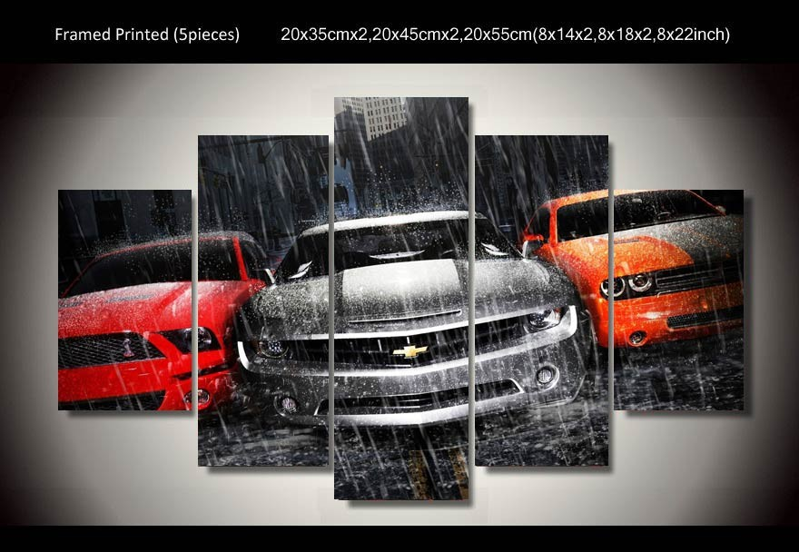 Framed printed muscle cars 5 piece painting wall art for 5 piece mural