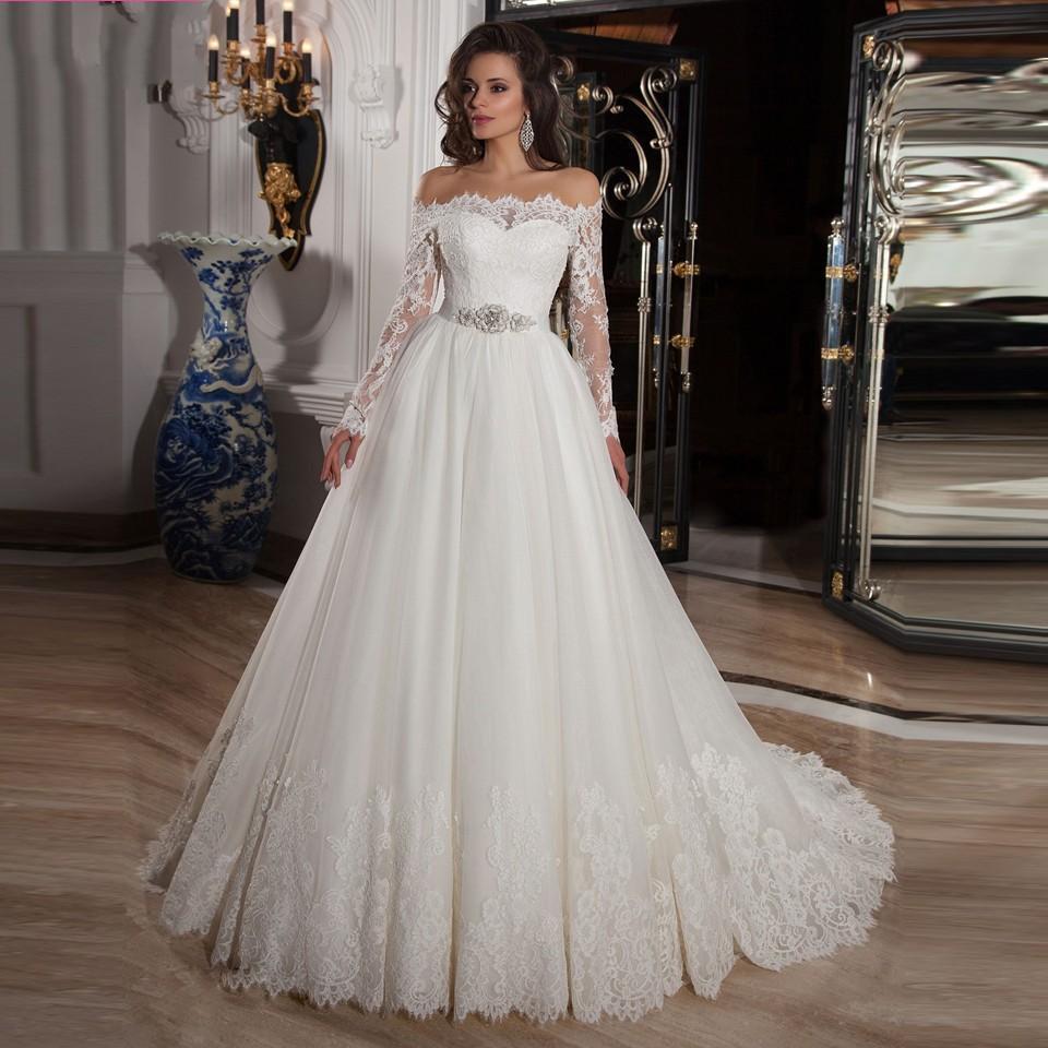 Buy Vestidos De Noiva 2015 Off Shoulder Lace Long Sleeve Bal