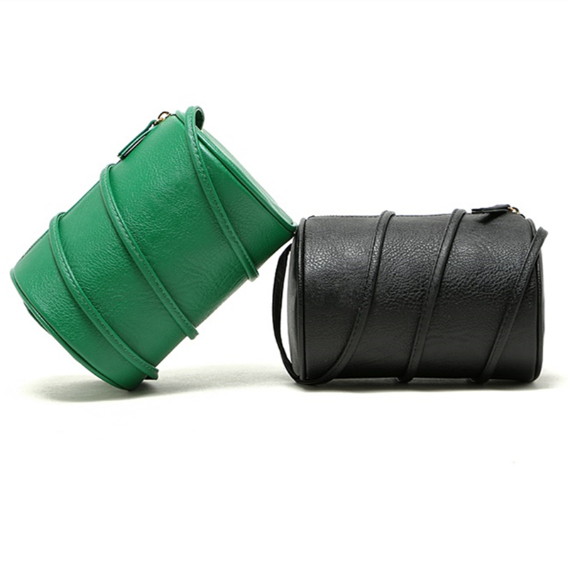 Summer Fashion Bag PU Leather Green Barrel Shaped Women Crossbody Messenger Bag Luxury Design Mini Shoulder Ladies Bags Purse1PC(China (Mainland))