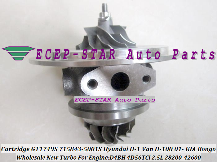 GT1749S 715843-5001S 28200-42600 715843 Turbocharger CHRA Cartridge Core Hyundai H-1 Van H-100 2001-/KIA Bongo D4BH 4D56TCi 2.5L(China (Mainland))