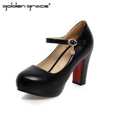 2016 Autumn Round Toe Shallow Mouth High-heeled Shoes Bottom High Heels Platform Women Wedding Shoes(China (Mainland))