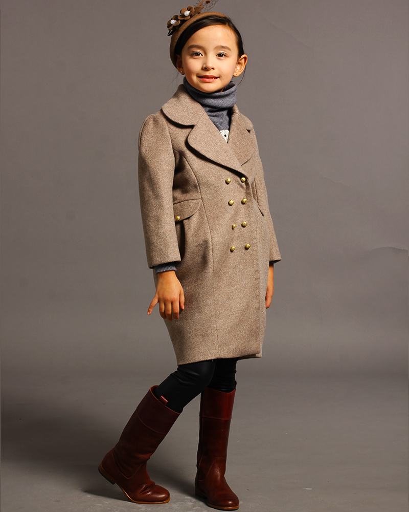 Customize Single Breasted Turn Down Collar Winter Children Girls Wool Outwear Jackets Long Sleeve Gray Wool Pea Coat(China (Mainland))