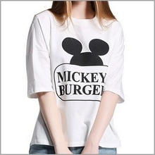 2015 Women tops summer casual white character letter Mickey print tees short sleeve o-neck collar women t -shirt AG-2533(China (Mainland))