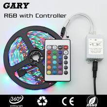 5m/lot RGB LED strip Light SMD 3528 fita de led 12V 60leds/m Sets luz rgb Led Tape with 2A Power Adapter 24Key Remote Controller(China (Mainland))