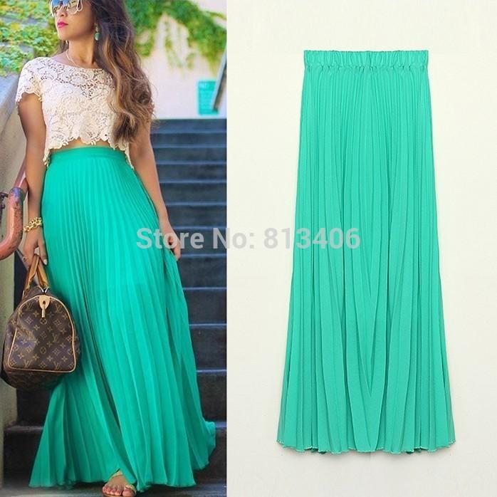 Women-Summer-Chiffon-Long-Skirt-2015-Candy-Color-Pleated-Bohemian-Maxi