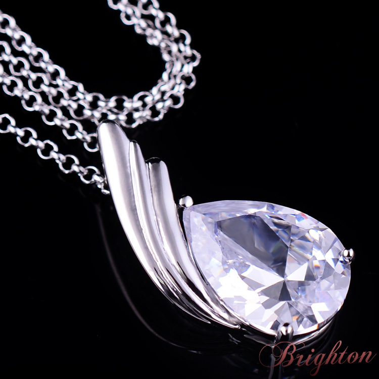Silver Plated AAA Zircon Waterdrop Shaped Pendant Korea Style Charm Necklace Women Fashion Jewelry - Miss Nancy's Store 532962, welcome you! store