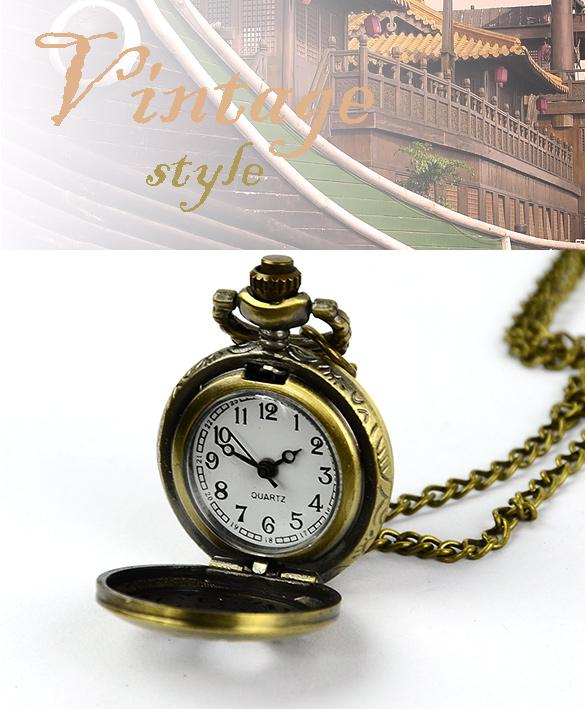 Free Shipping Fashion Retro Vintage Style Bronze Steampunk Quartz Necklace Pendant Chain Clock Chinese Zodiac Pocket Watch(China (Mainland))