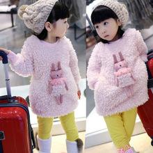 2015 winter new female children's clothing cute bunny plush round neck dress thicken(China (Mainland))