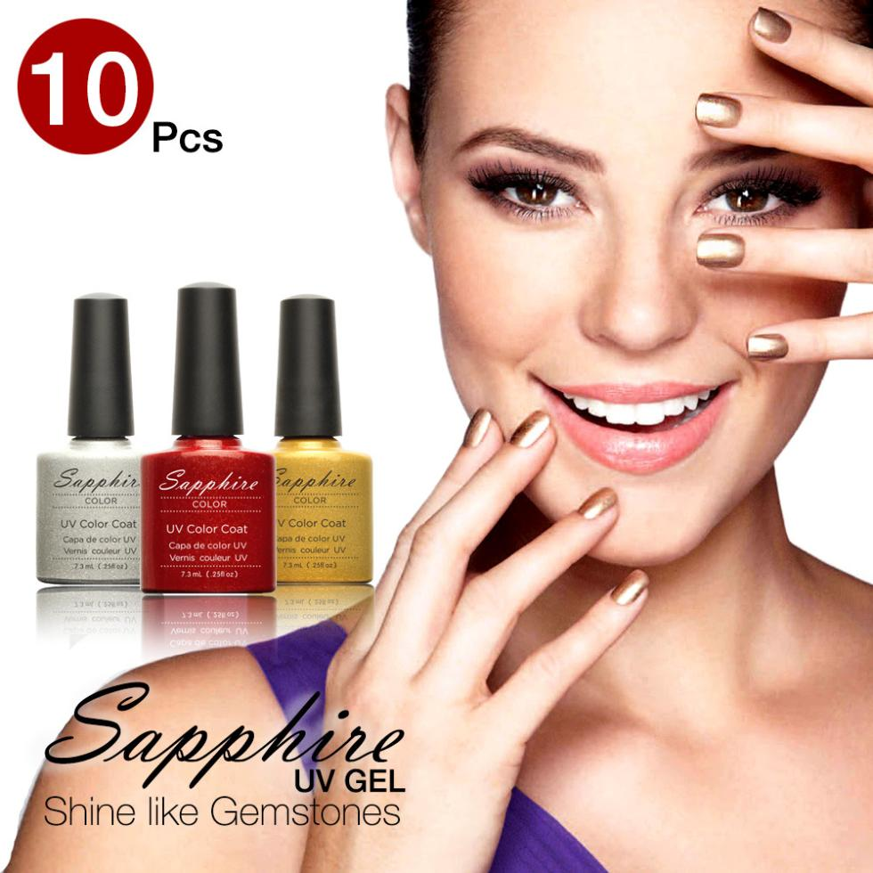 (Choose 10) Sapphire Nail UV 7.3ml 80 Fashion Color Long-lasting LED Gel Polish Top - WOVJ Beauty Shop store