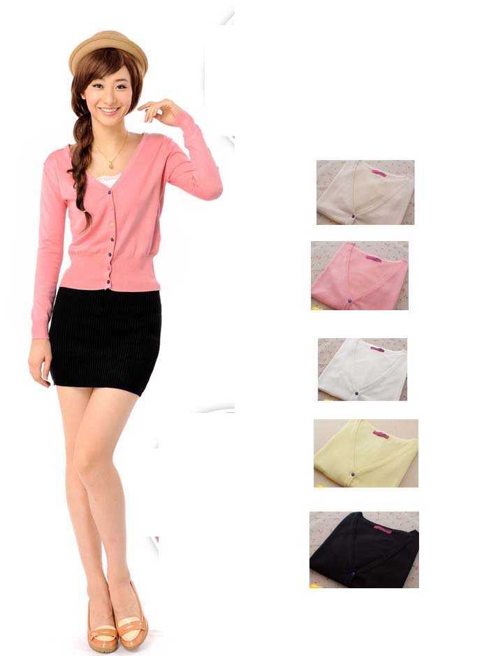 summer autumn women cardigan wool sweater long-sleeve women's outerwear short design small cardigan color button Dabzt2(China (Mainland))