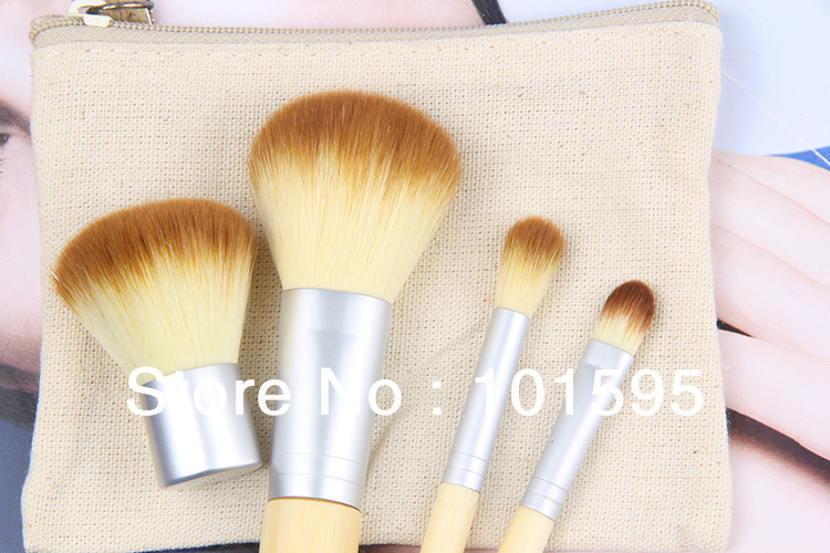 Hot sale Fashion 4pcs/set 4 pcs BAMBOO Portable Makeup Brushes Make Up Make-up Brush Cosmetics Set Kit Tools free shipping(China (Mainland))