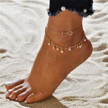 Modyle 2020 สีทอง Anklets ผู้หญิง Simple Heart Barefoot โครเชต์รองเท้าแตะเท้ารองเท้าแตะเครื่องประดับ 2 ชั้นขาเท้าสร้อ...(China)