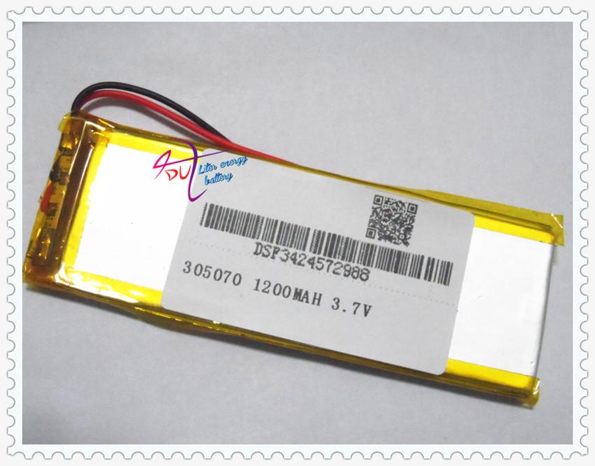 3.7V lithium polymer battery 305070 Onda MP4 MP5 GPS eBook 1200MAH(China (Mainland))
