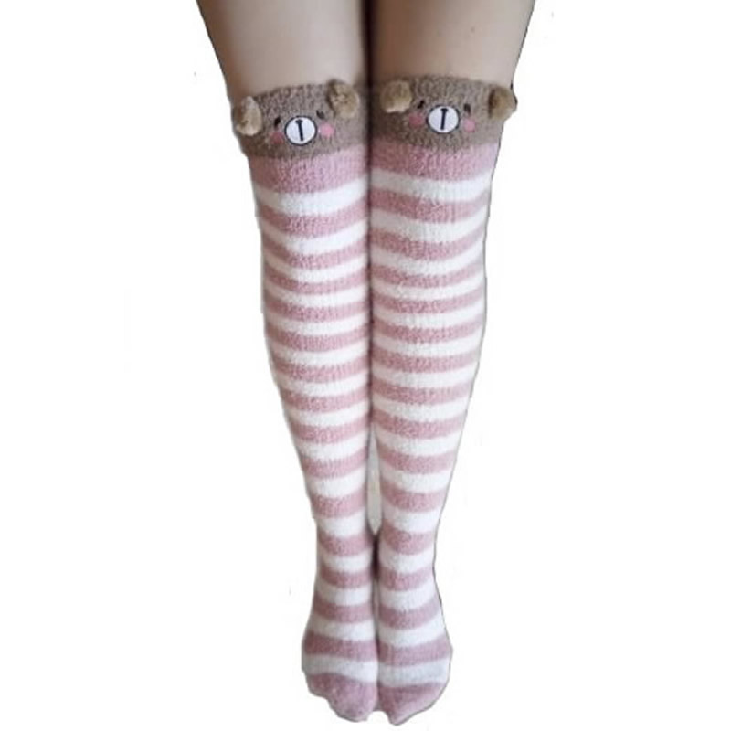Winter Warm Stockings Kawaii Bear Sheep Sweet Women Thigh High Stockings Girls Thicken Over Knee Lovely Stockings(China (Mainland))