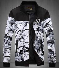 2015 Brand Men Jacket Flower Print Jackets Men's Jackets And Coats Outdoor Windbreaker Jacket Men Chaqueta Hombre M-5XL(China (Mainland))