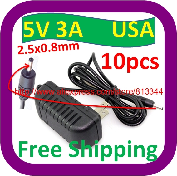 10 pcs Free Shipping USA Pulg Charger Power Adapter DC 2.5mm x 0.8mm 5v 3a for Android Tablet PC Charger<br><br>Aliexpress