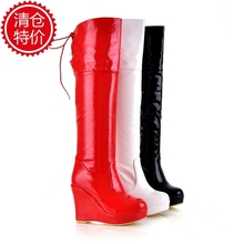 High-leg boots japanned leather ultra high heels platform boots back strap platform shoes white wedges boots(China (Mainland))