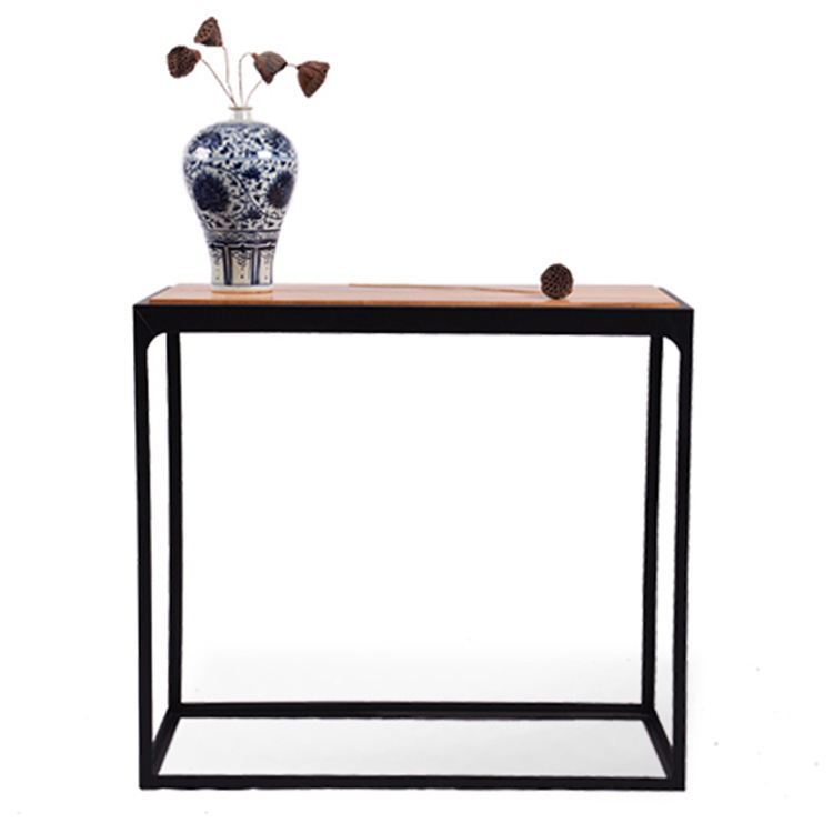 Continental simple wood office furniture, wrought iron console table rectangular fashion retro casual living room side table(China (Mainland))