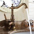 New Arrivel Single Handle Bathroom Faucet Basin crane tap Antique Brass Hot and Cold Water tap