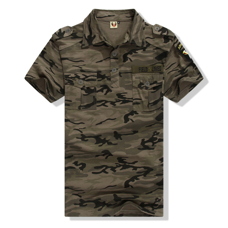 Camouflage Polo Shirt Military Tactical Polo Outdoors Army Green Camping Training Casual Cotton Tee Shirt Camo(China (Mainland))