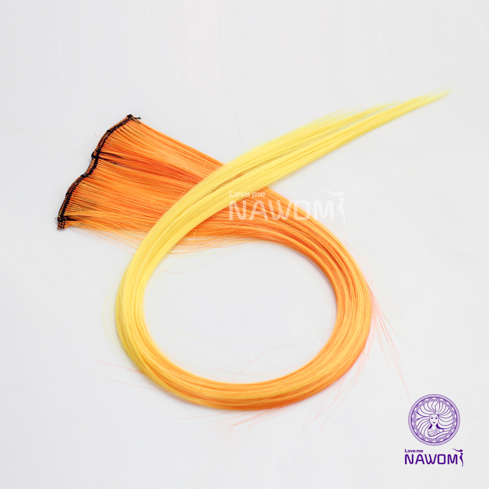 2015 Colored colorful Hair Piece Women,yellow ombre Straight Clip-in Extension,50cm, - Nawomi Wigs store