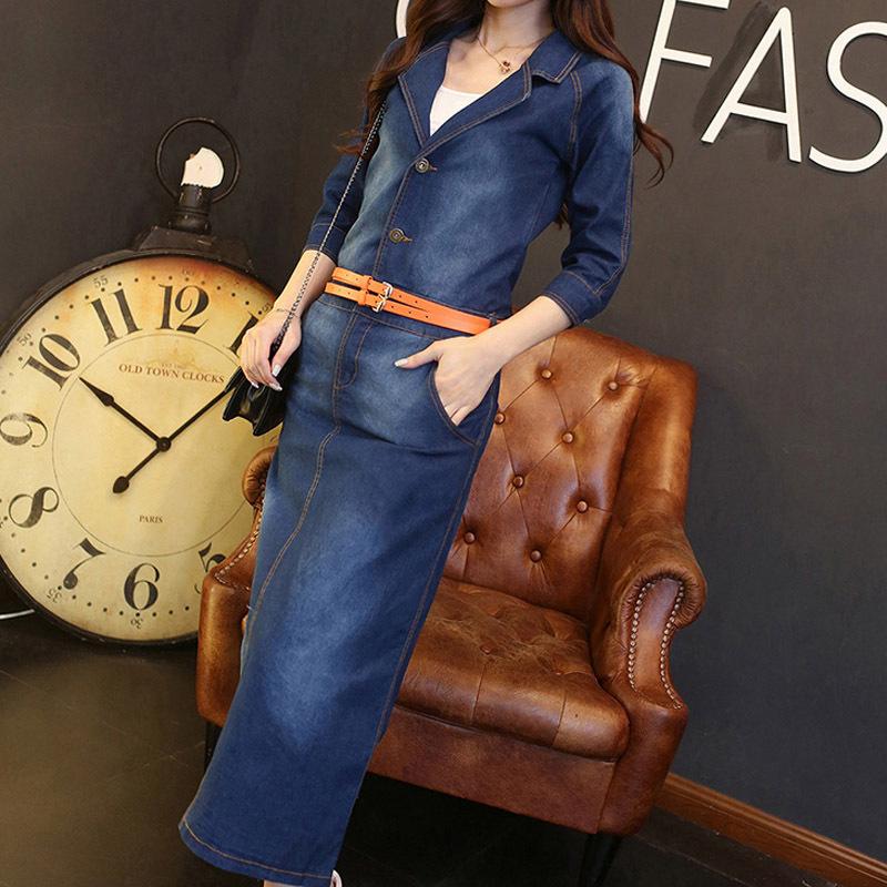 New Arrival 2015 Autumn Winter Vintage Midi Jeans Shirt Dress Ladies Office Formal Elegant Long Sleeve Cotton Maxi Denim Dress(China (Mainland))