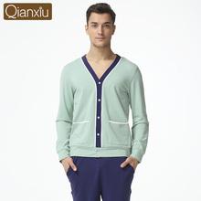2016 Spring Brand homewear Men's Casual Pajama sets Male Y-neck collar cardigan shirts & pants Men Cotton Modal sleepwear suit(China (Mainland))