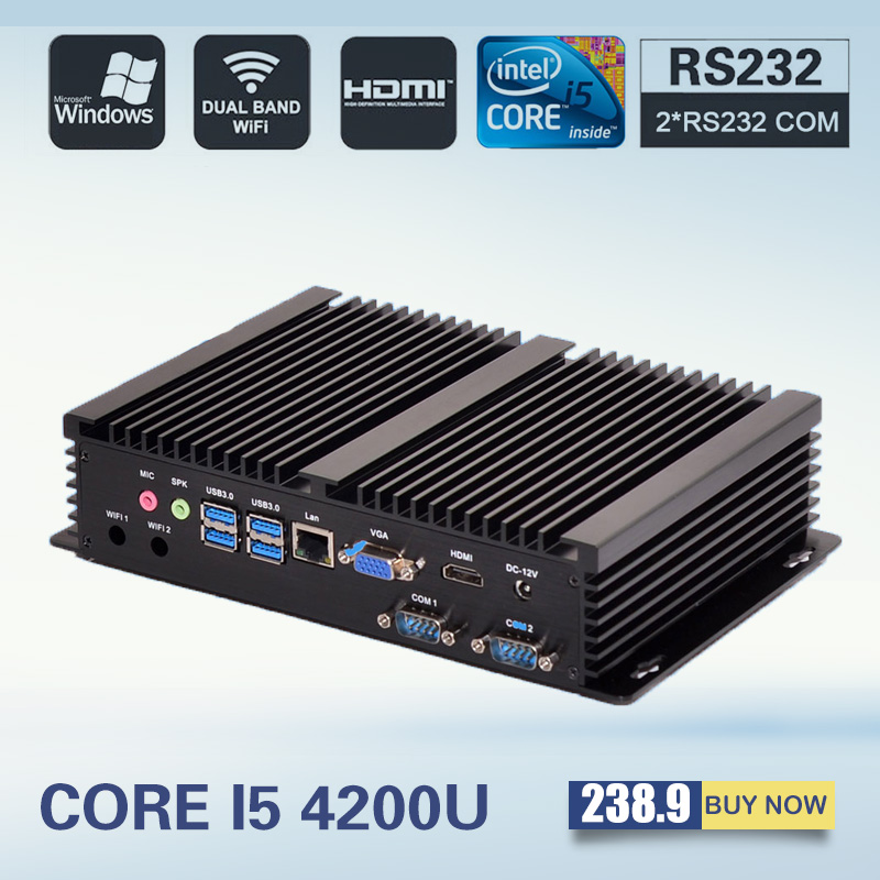 [CE&FCC&ROSH] Mini Computer Fanless Mini PC Windows 7 Core i5 4200U 2*RS232 industrial PC Rugged PC Mini Computador 4K TV Box(China (Mainland))