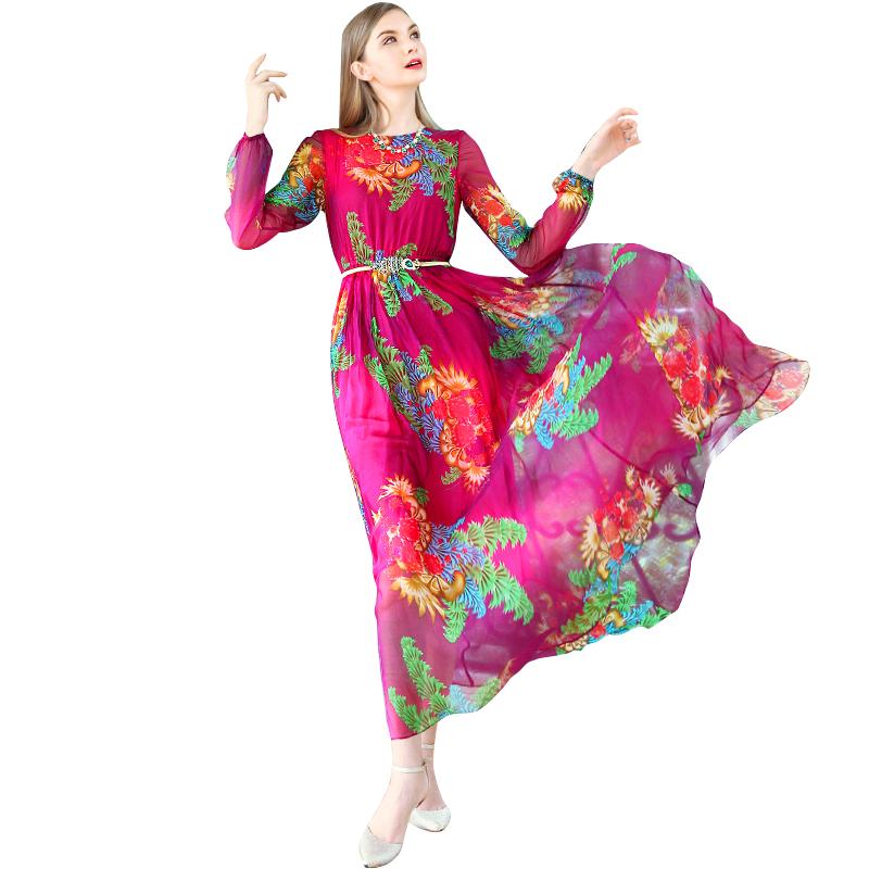 Print Summer Dresses Women Long Sleeve Long Dress 2016 New High Quality 100% Silk Casual Maxi Vestidos Femininos 2052