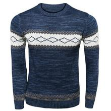 2016 New Arrival Long-Sleeved Cotton Stripes Men's Sweater Fashion Style Splicing And Slim Fit Male Sweaters Pullover(China (Mainland))