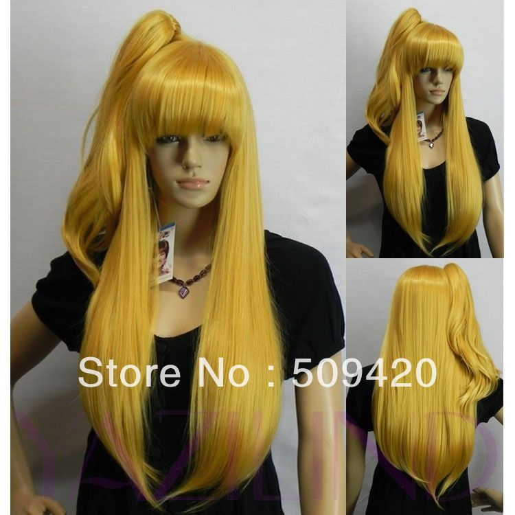 >>>Lori Loli long straight yellow cute style full synthetic bangs cosplay party wig