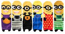 2015 New 5 colors Minions cute cartoon sox summer South Korean style Fashion Cotton Printing Tube Socks women floor meias soks