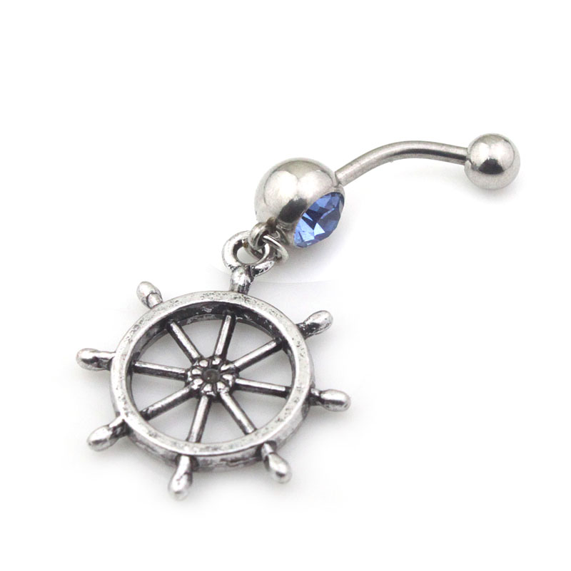 10PCS/Lot Free Shipping BJ00146 cheap male steel bar body jewelry navel button vintage metal men rudder belly ring(China (Mainland))