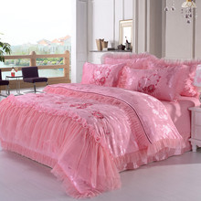 Home textile bedding sets,100% soft skin satin embroidered jacquard,romantic wedding  princess rose pink silk Lace duvet cover(China (Mainland))