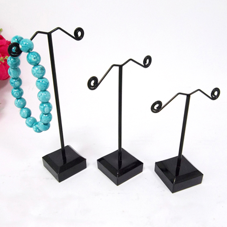 Black/Clear Acrylic Metal Jewelry Display Stand For Tassel Dangle Earrings Rack Stud Bracelet Displays Holder Exhibitor 3pcs/set(China (Mainland))