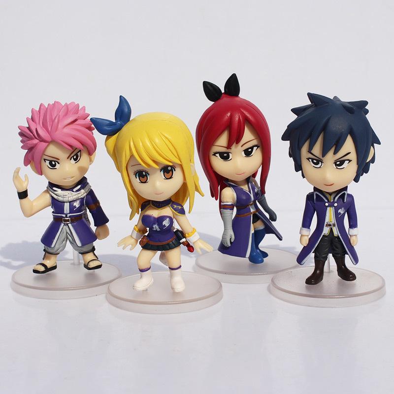 Free Shipping 4sets 8cm Anime Fairy Tail PVC Figure Model 4 pcs/set Natsu / Gray / Lucy / Erza doll