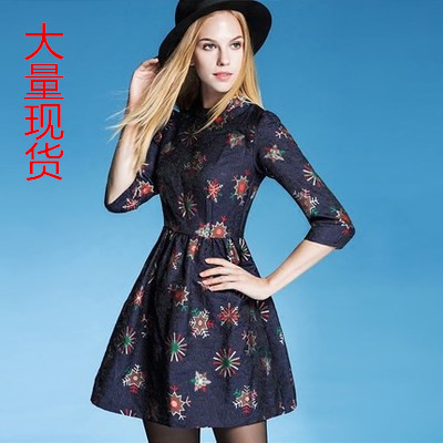 Factory Outlet New 2015 Fashion Women Jacquard Runway Dresses Autumn Casual Elegant Print Knee-Length A-Line Dress Robe(China (Mainland))