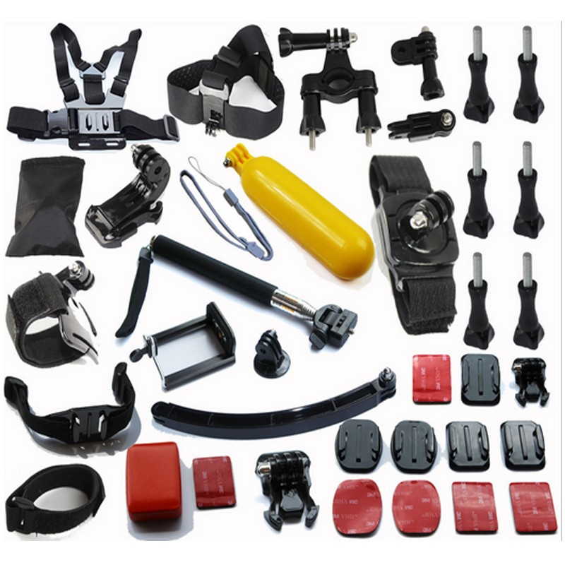 Gopro Accessories Set Helmet Harness+Chest Belt+Head Mount Strap+Bobber+Monopod Pole for Go pro Hero 4 3+ 2 1