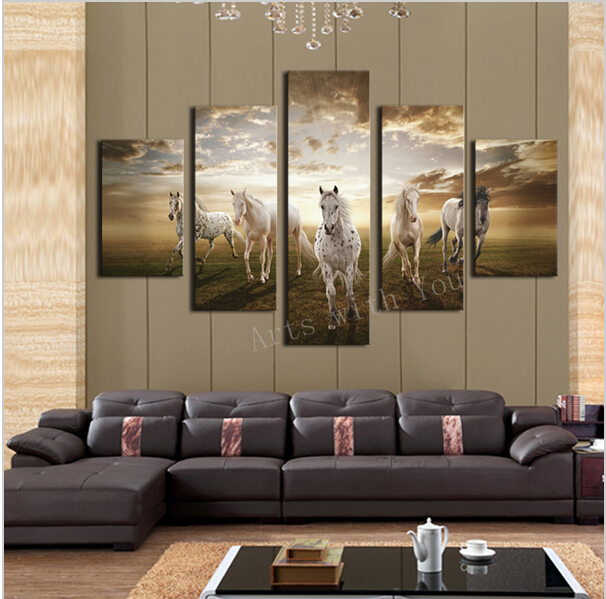 5 pcs high quality cheap art pictures running horse large