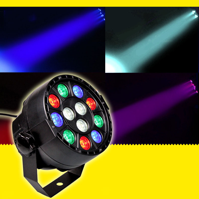Stage Light 12x3W Flat LED Par RGBW DMX512 Disco Lamp KTV Bar Backlight Laser Beam Projector Dmx Controller Spotlights(China (Mainland))