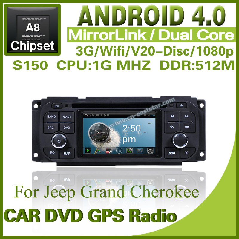 Pure Android 4.0 car dvd for Jeep Grand Cherokee with steering wheel control dvd GPS radio Bluetooth TV Free shipping 1232S(China (Mainland))