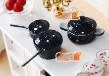 Dolls Toys For Girls Dollhouse Miniature Dark Blue Frying Pan Pot Set Cook Furniture(China (Mainland))