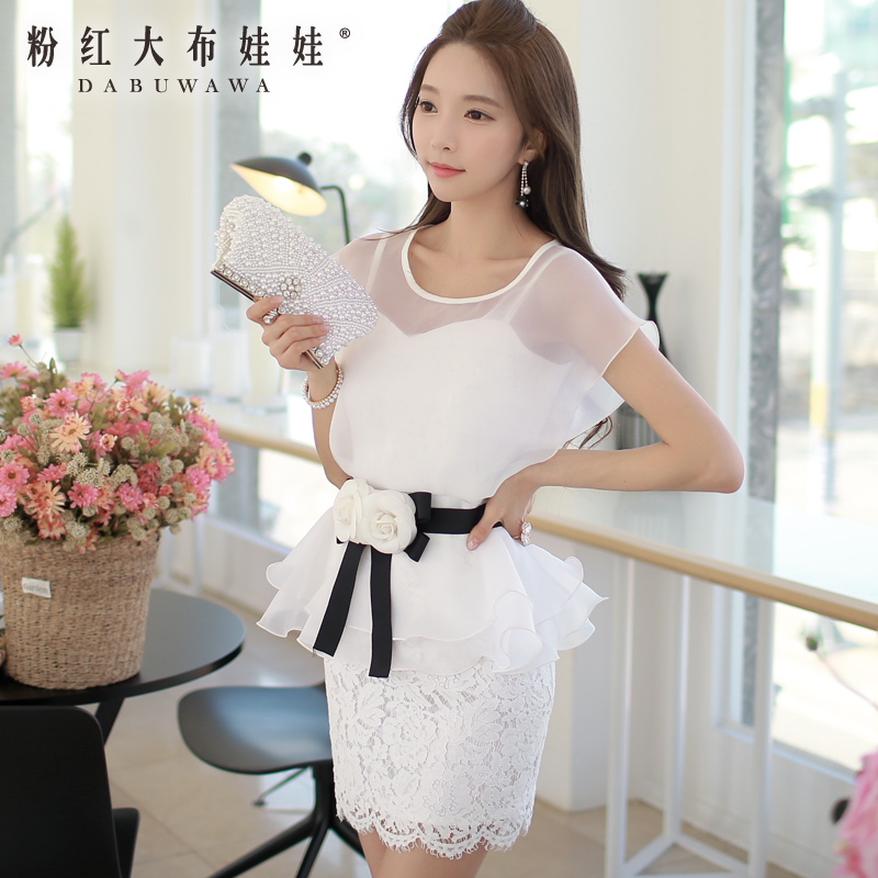 Ladies Dress Pink Doll 2015 summer new blend lace Camellia belt temperament dress(China (Mainland))