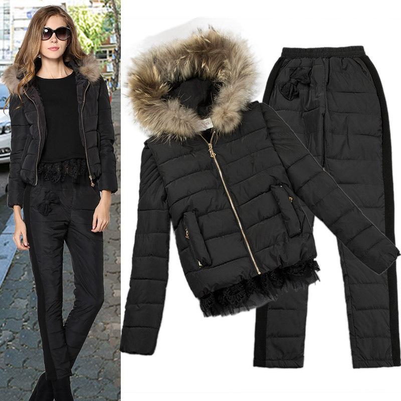 Тёплый зима комплект вниз куртка + жилет + брюки потеря закрытый воротник дна рубашка женщины приталенный большой большие размер мягкий хлопок брюки