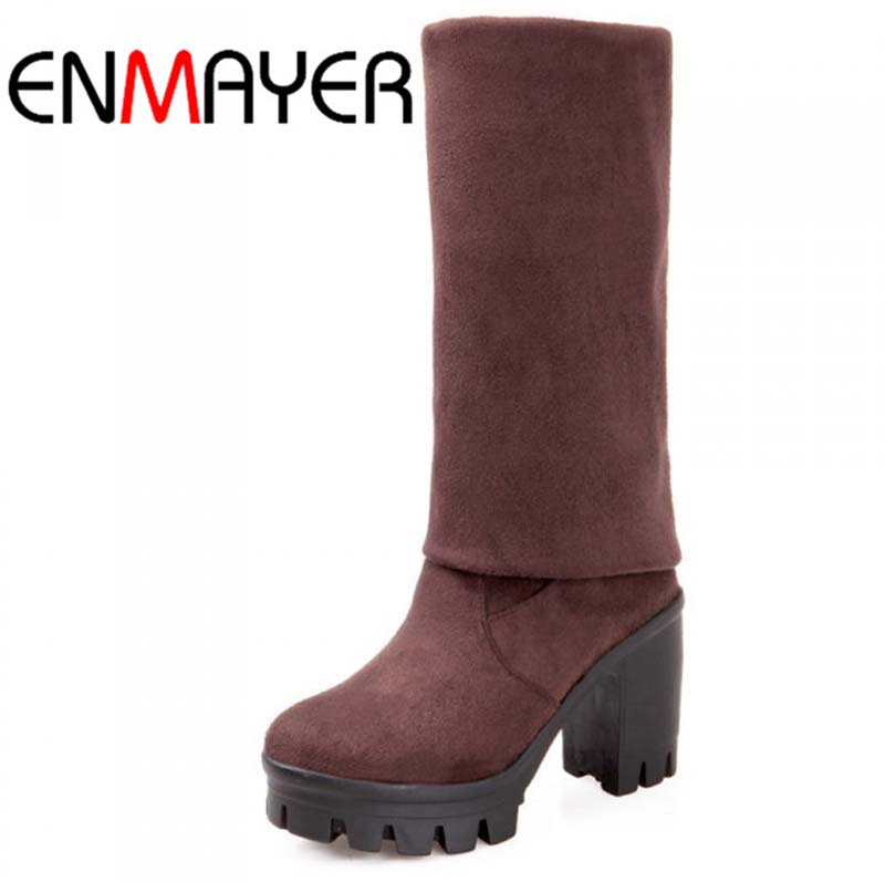 ENMAYER NEW 2015 fashion Round Toe Over-the-Knee Boots for women shoes sexy Winter Flock platform Long boots Black Brown  <br><br>Aliexpress