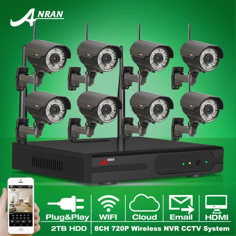 Plug And Play 720P HD Varifocal 2.8mm-12mm Outdoor IR Security IP Camera WIFI 8CH H.264 NVR Wireless CCTV System 2TB HDD(China (Mainland))