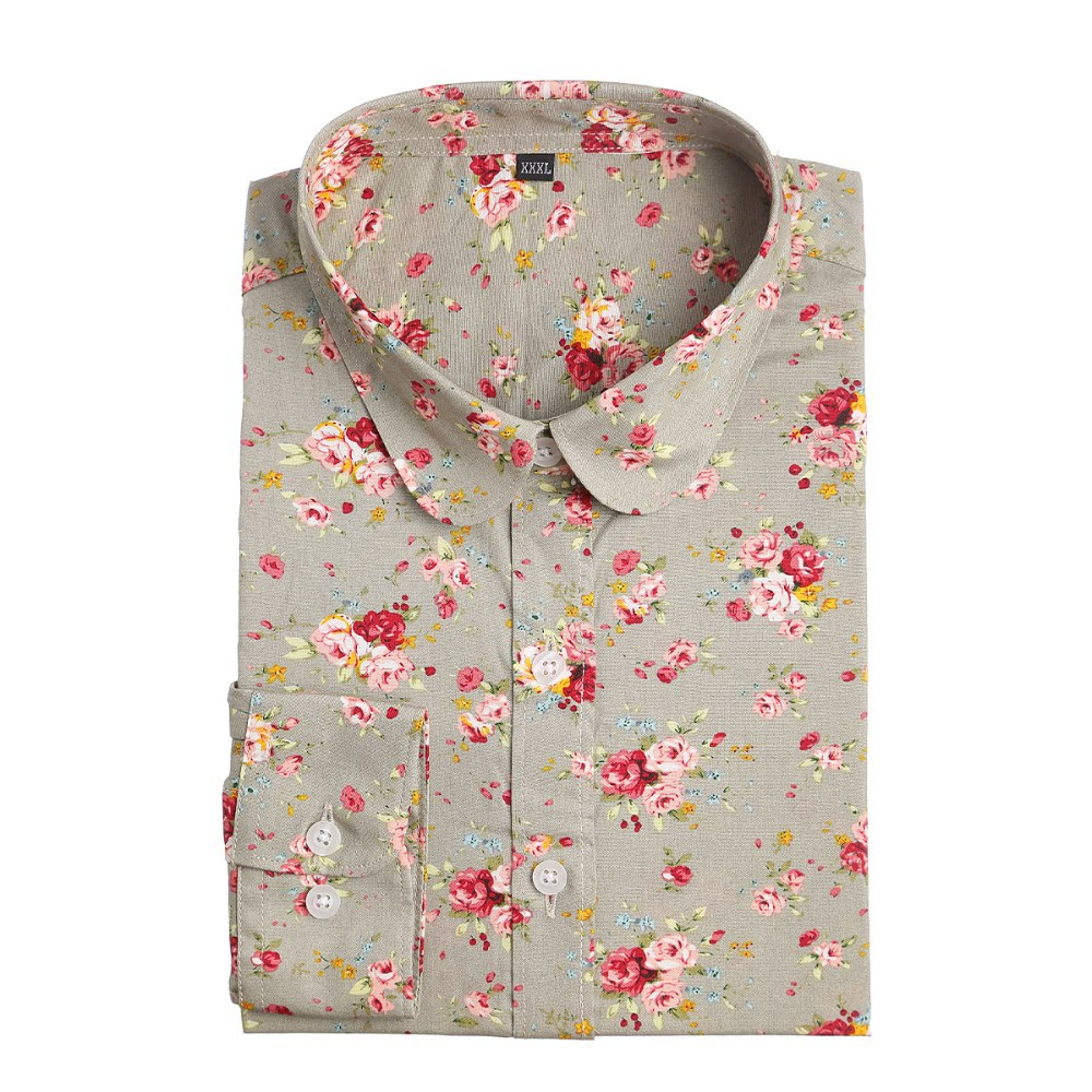 New Women Blouses Floral Print Shirts Cotton Shirt Women Long Sleeve Blouse Vintage Woman Clothes Summer Tops Plus Size 2015
