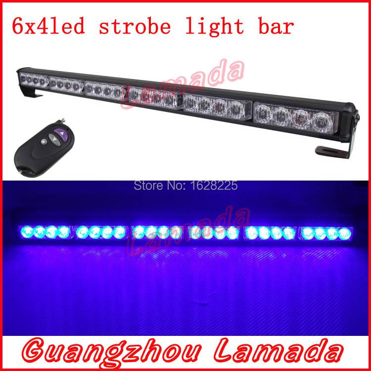 Wireless control police Strobe Lights bar 24 LED car warning Lights vehicle emergency lights DC 12V red blue white amber(China (Mainland))